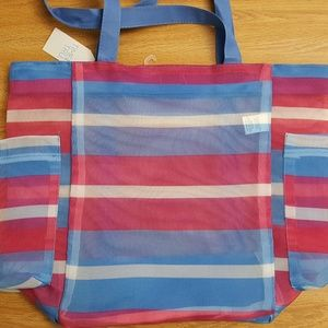 Bea;ch Tote Bag Large Size Pink & Blue